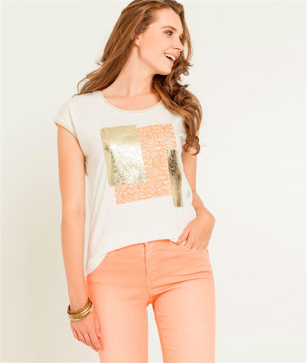 T-shirt femme patchs dorés BLANC