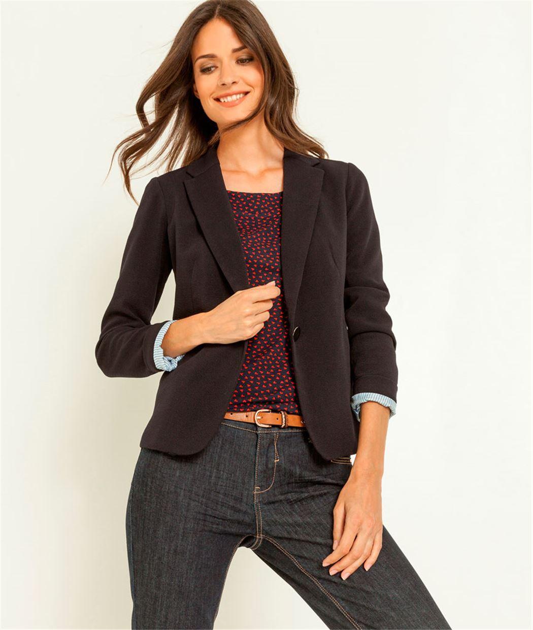 veste femme tailleur en maille marine grain de malice. Black Bedroom Furniture Sets. Home Design Ideas