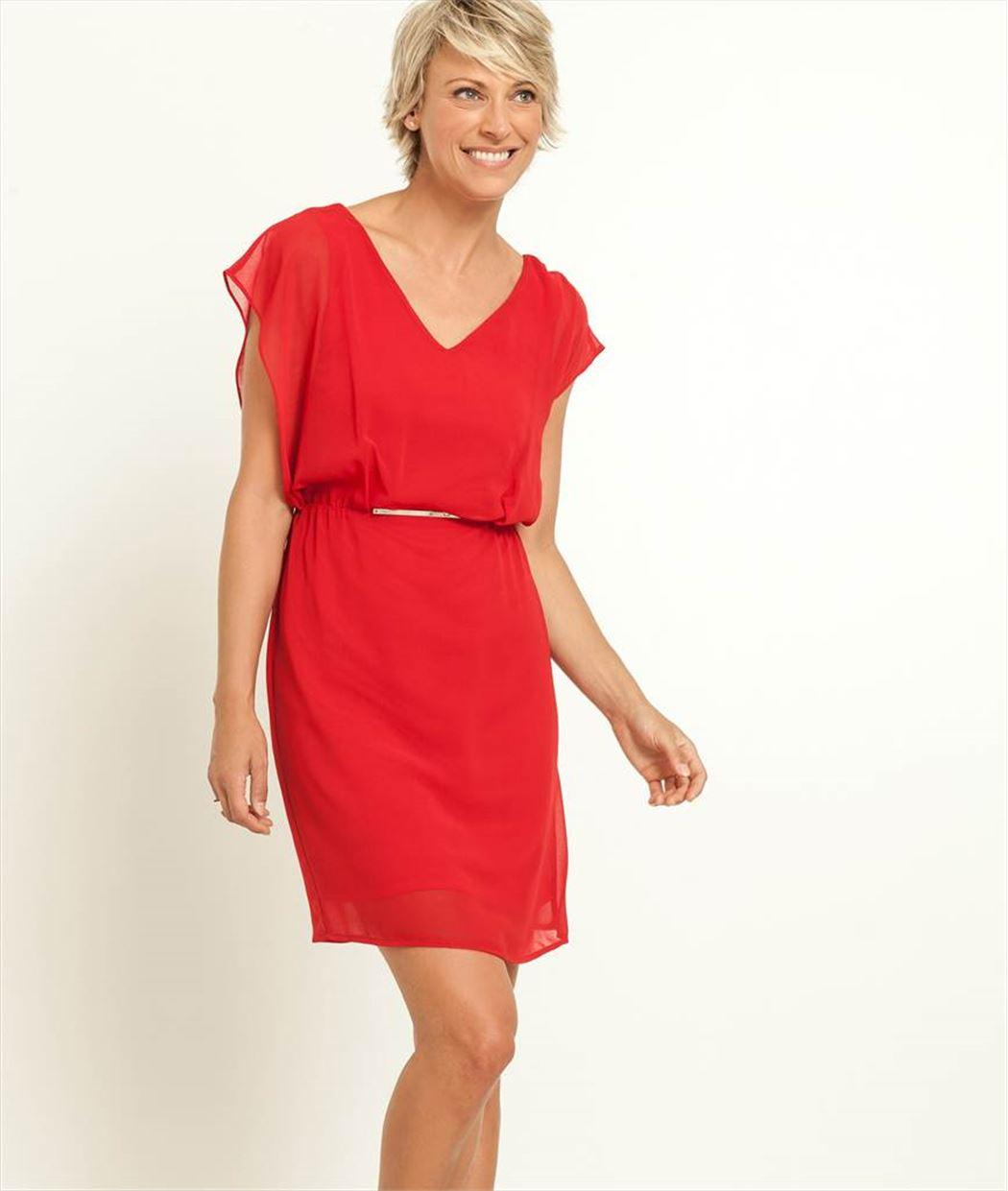 robe femme habill e couleur rouge grain de malice. Black Bedroom Furniture Sets. Home Design Ideas