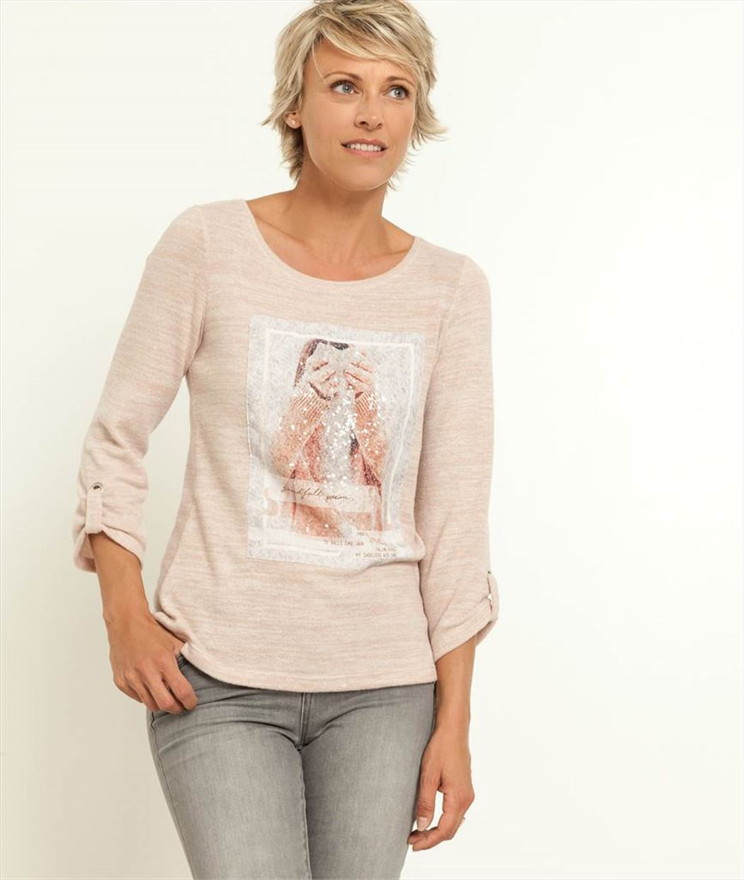 T-shirt femme imprimé message ROSE