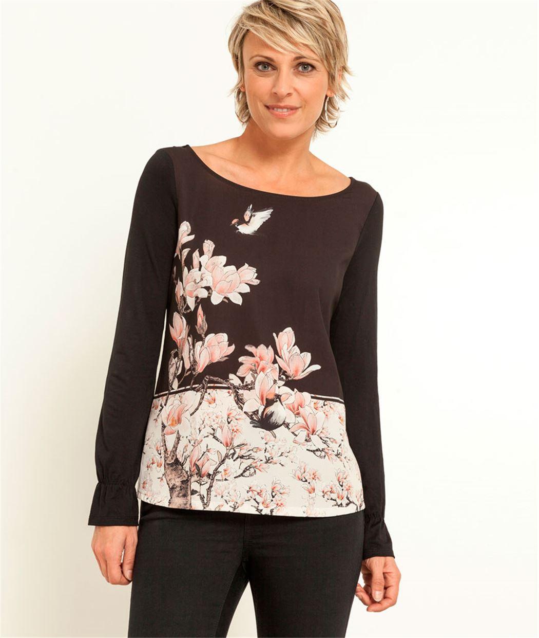 Tshirt bi matière imprimé fleurs NOIR - Grain de Malice 69219273cac2
