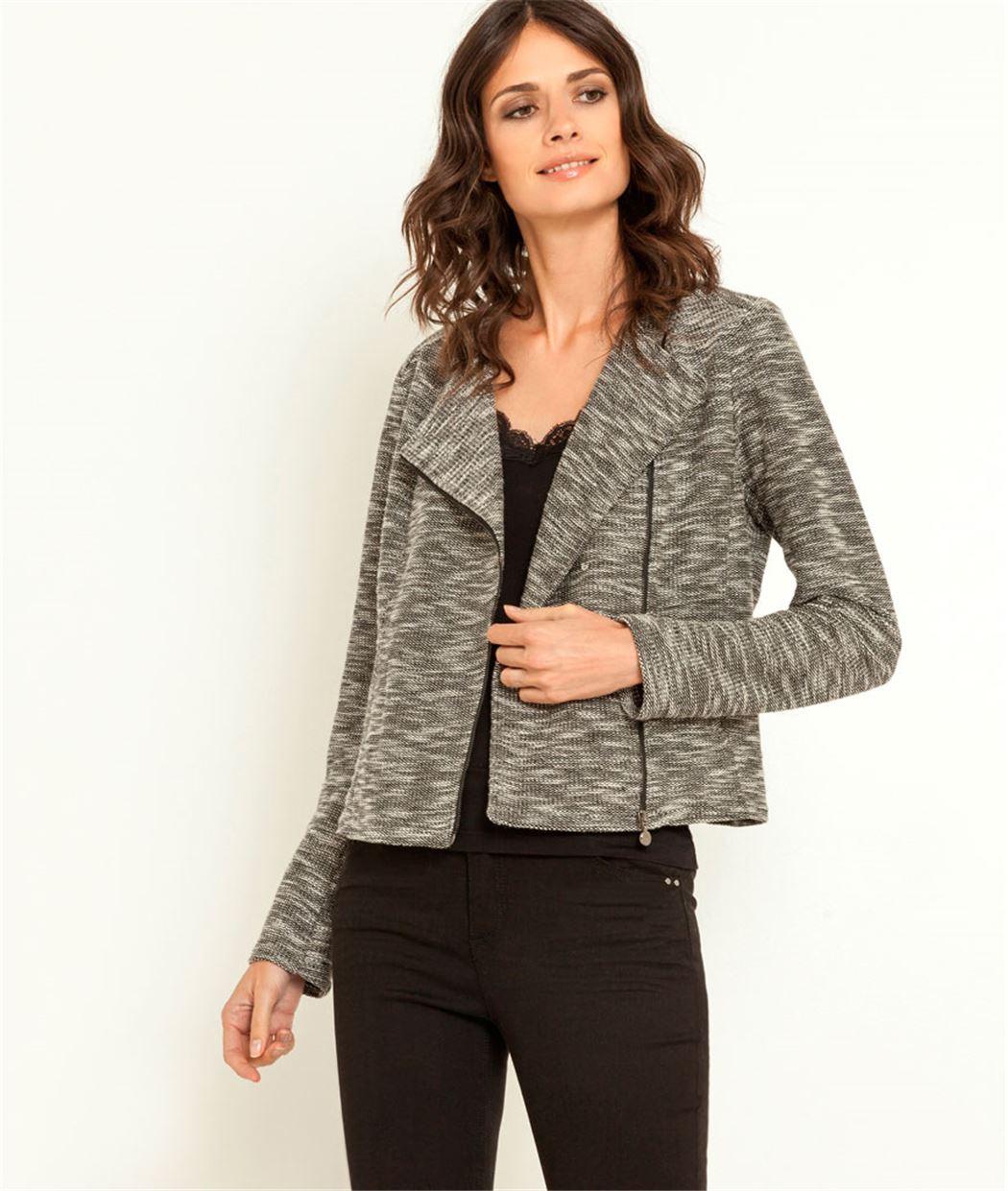 veste femme en maille gris grain de malice. Black Bedroom Furniture Sets. Home Design Ideas