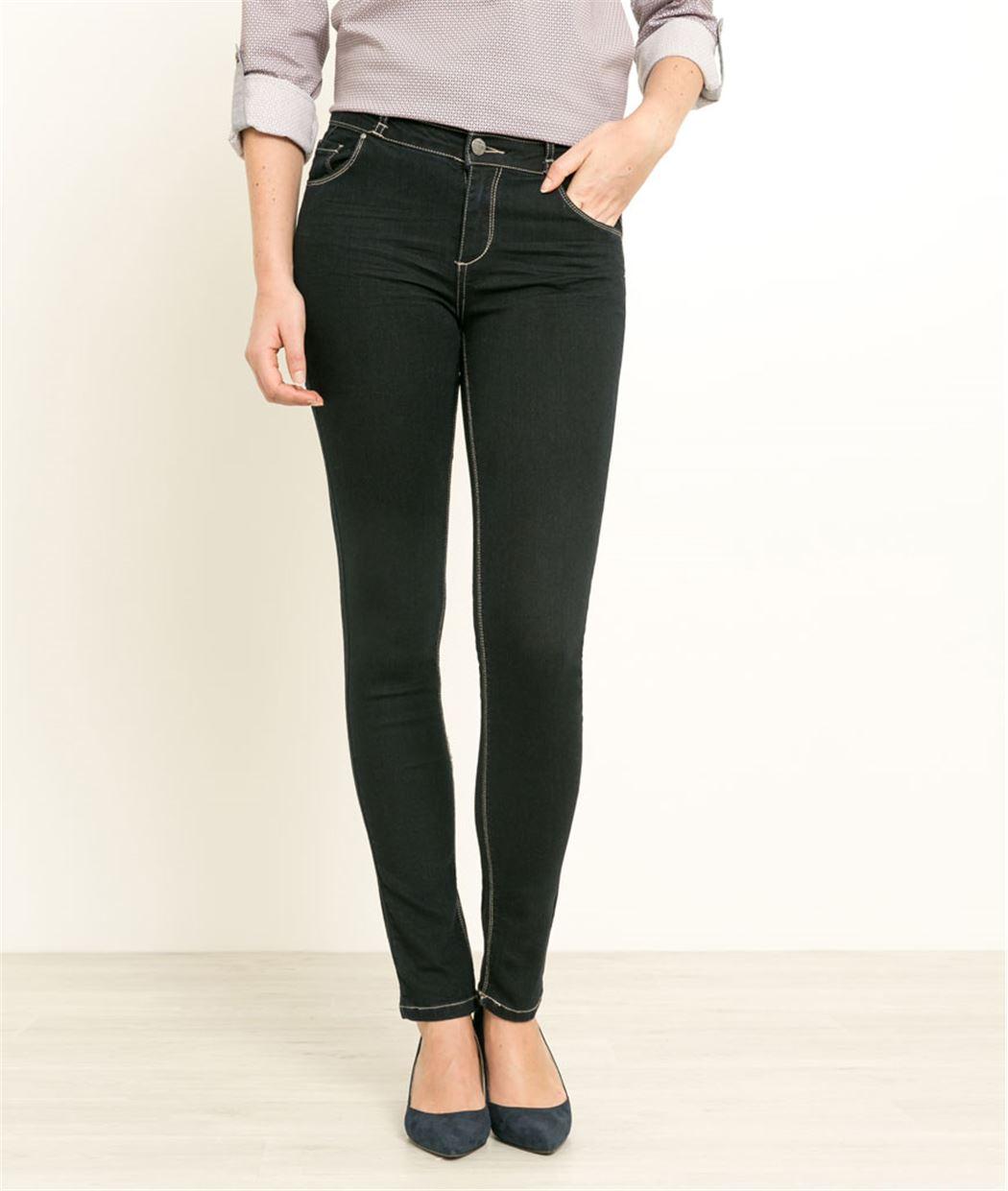 Jean femme taille haute coupe slim BLUE BLACK