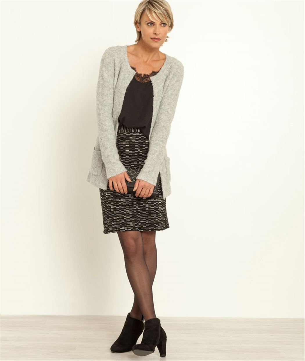 taille 40 d8ae4 e04c5 Jupe taille haute maille jacquard
