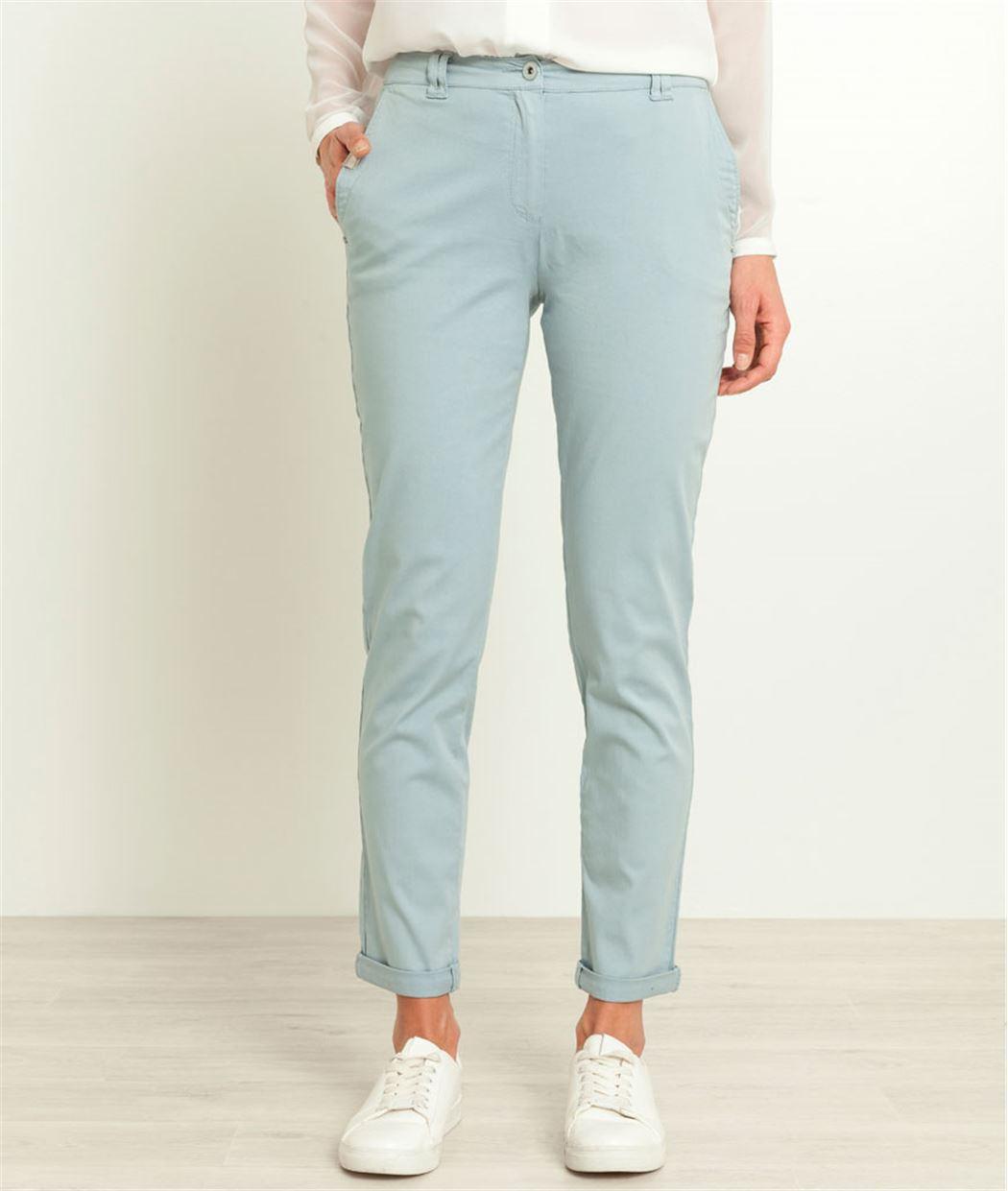 Pantalon femme chino BLEU CIEL