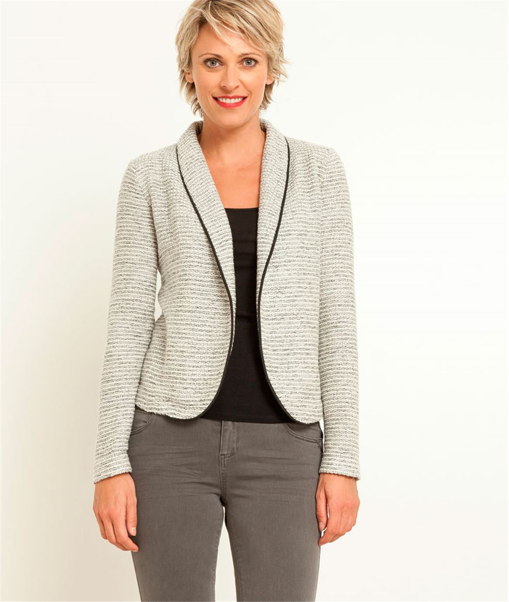 veste femme en maille gris clair grain de malice. Black Bedroom Furniture Sets. Home Design Ideas