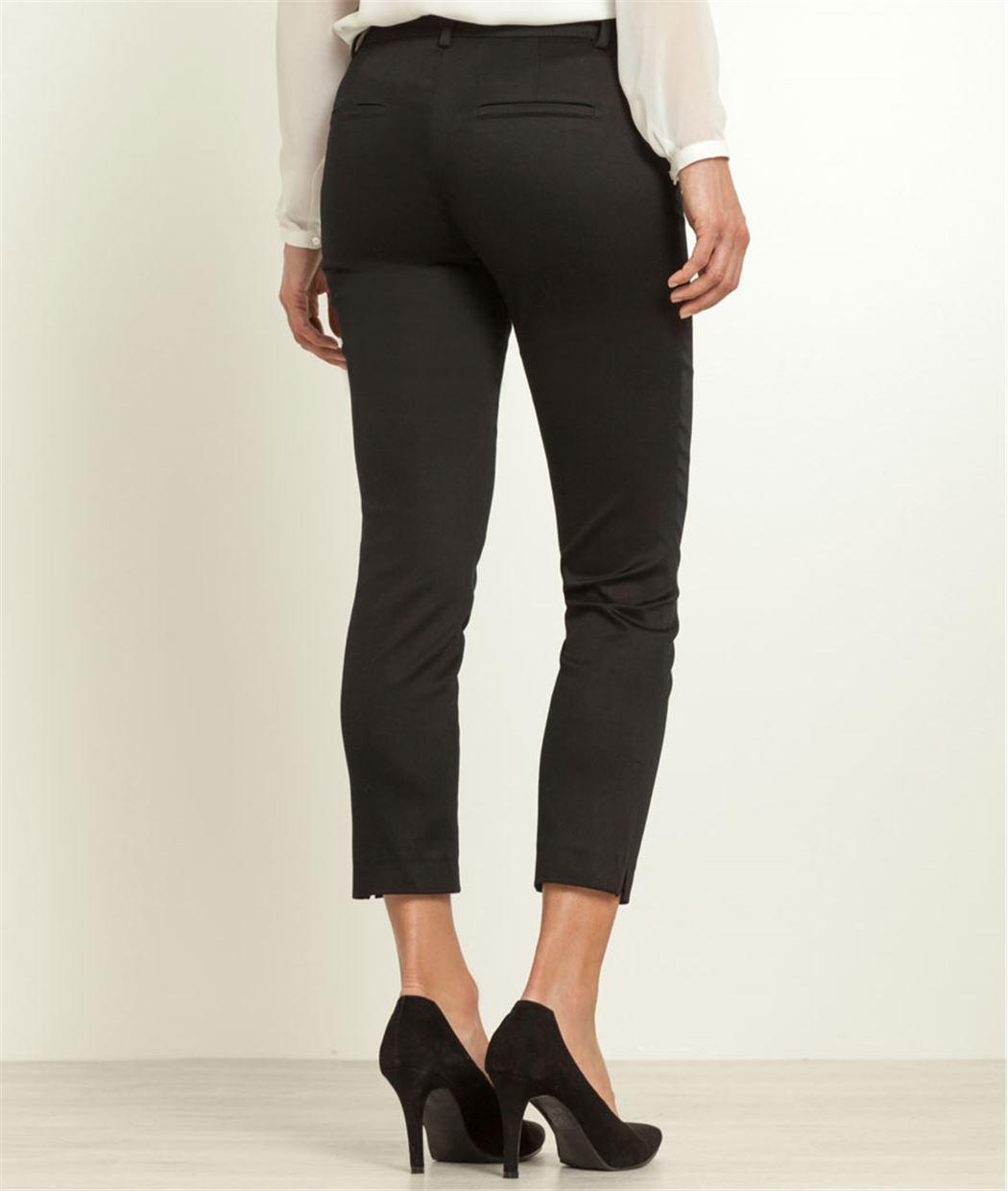 Pantalon femme 7/8 satin de coton NOIR
