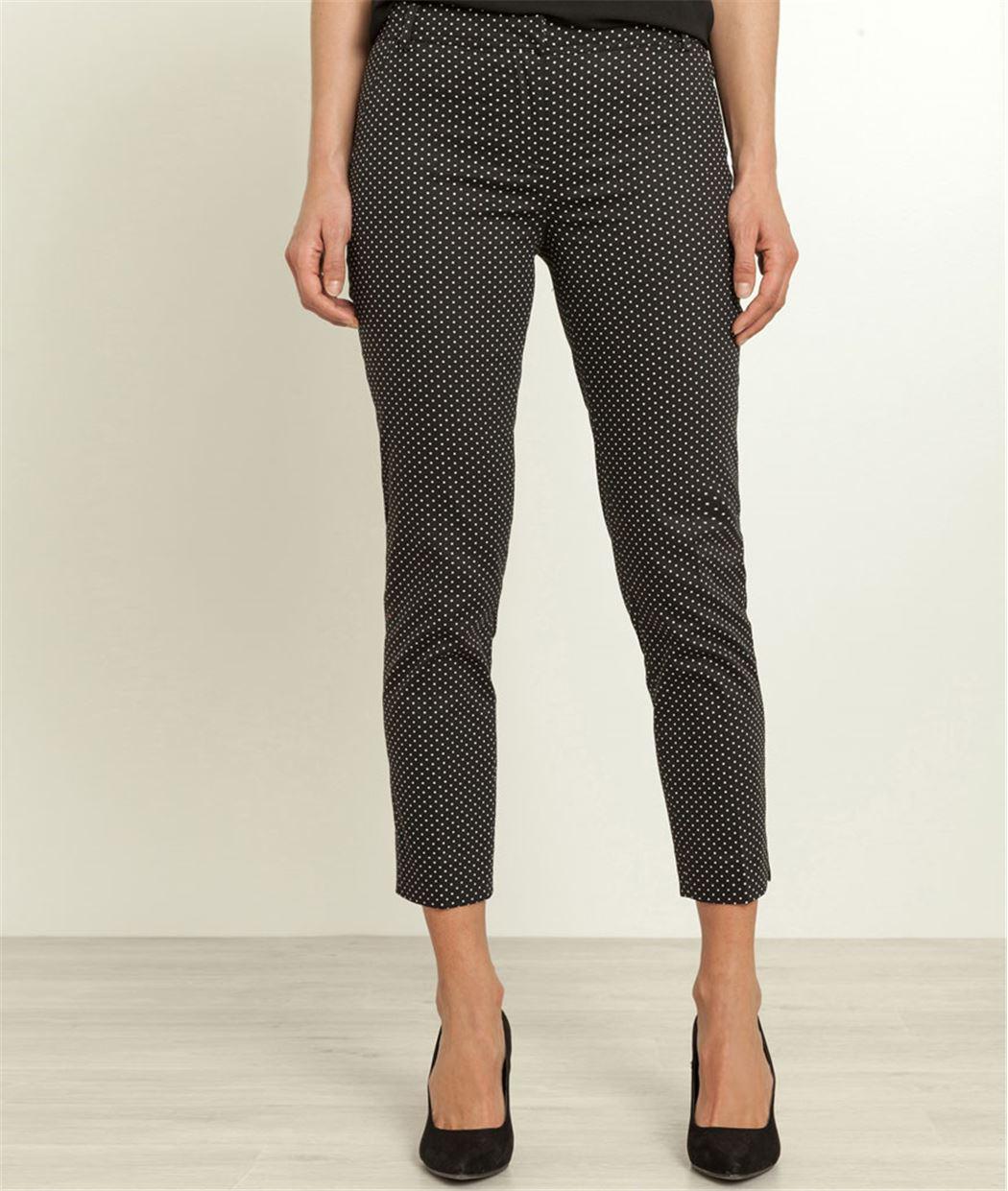 Pantalon femme satin de coton imprimé BLACK