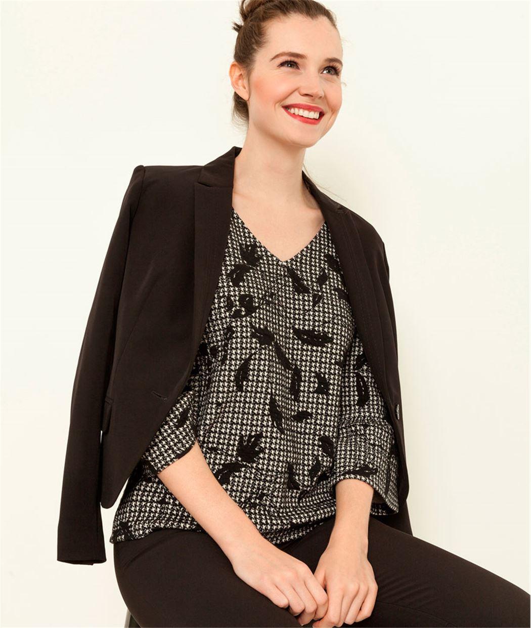 sweat femme imprim pied de coq gris grain de malice. Black Bedroom Furniture Sets. Home Design Ideas