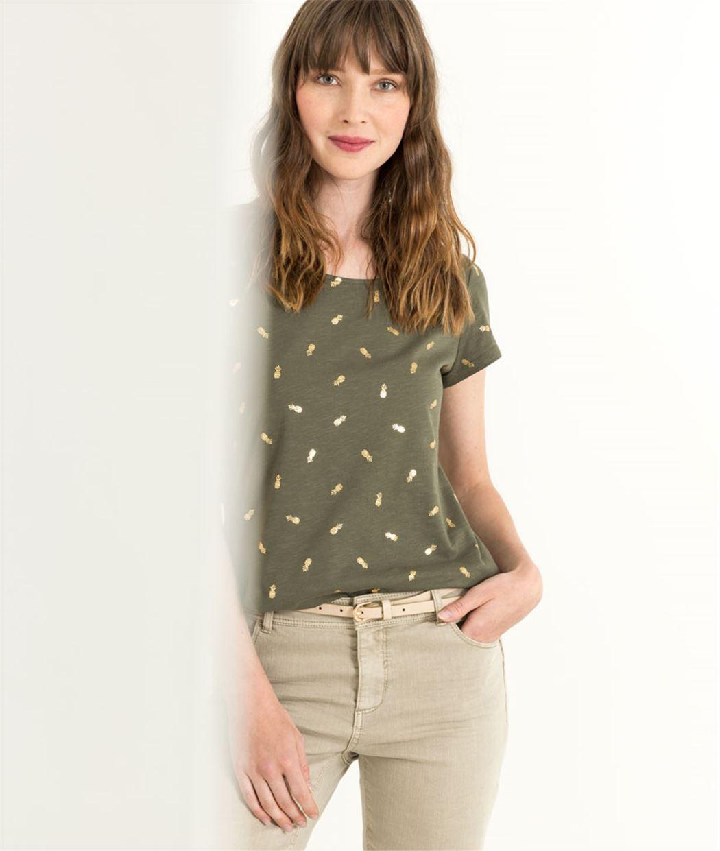 T-shirt femme imprimé micro motifs KAKI