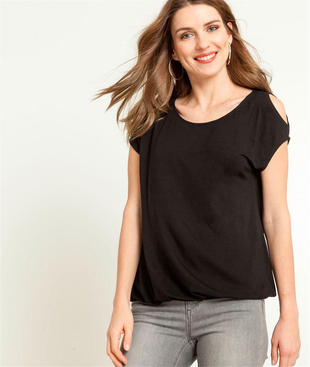 T-shirt femme épaules ouvertes NOIR