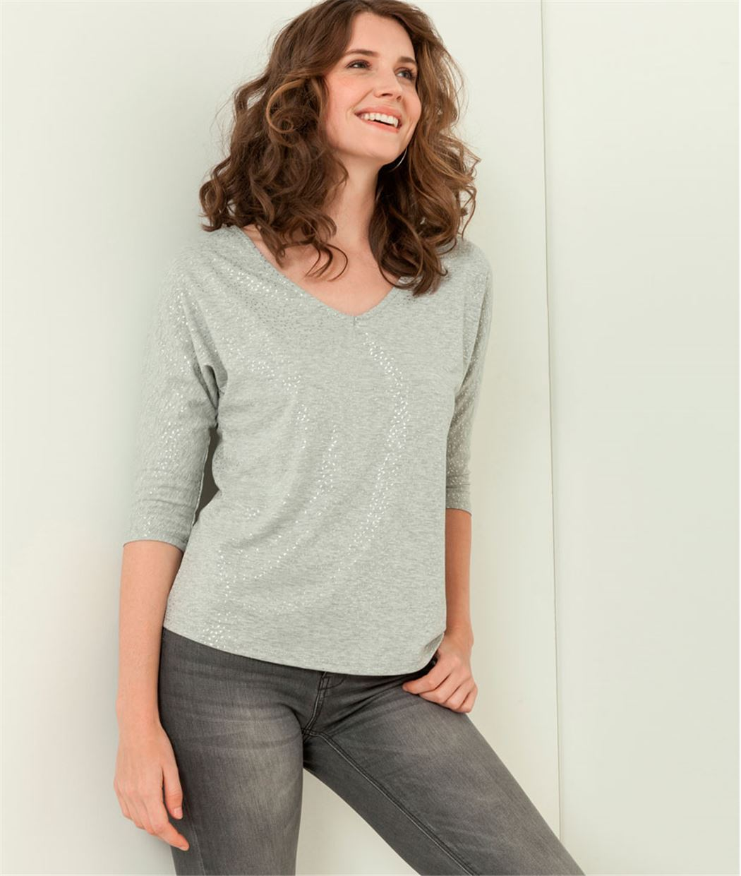 T-shirt femme imprimé GRIS