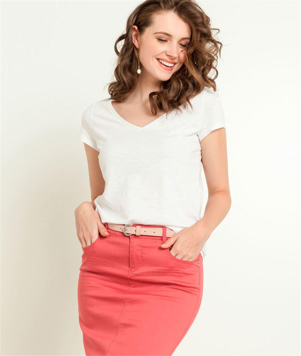 T-shirt femme uni manches courtes BLANC
