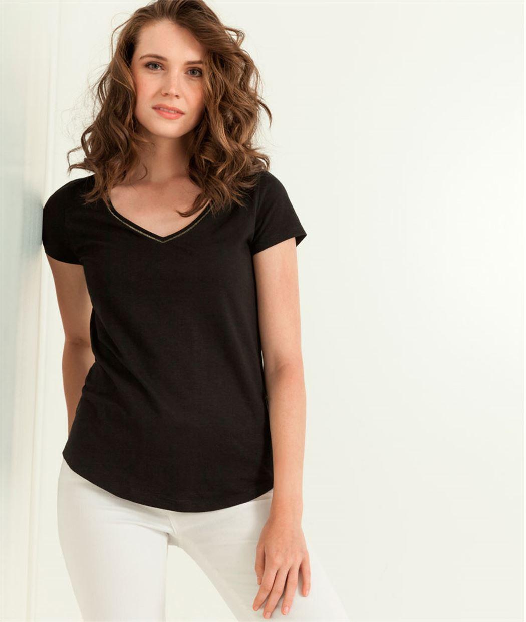 T-shirt femme uni manches courtes NOIR
