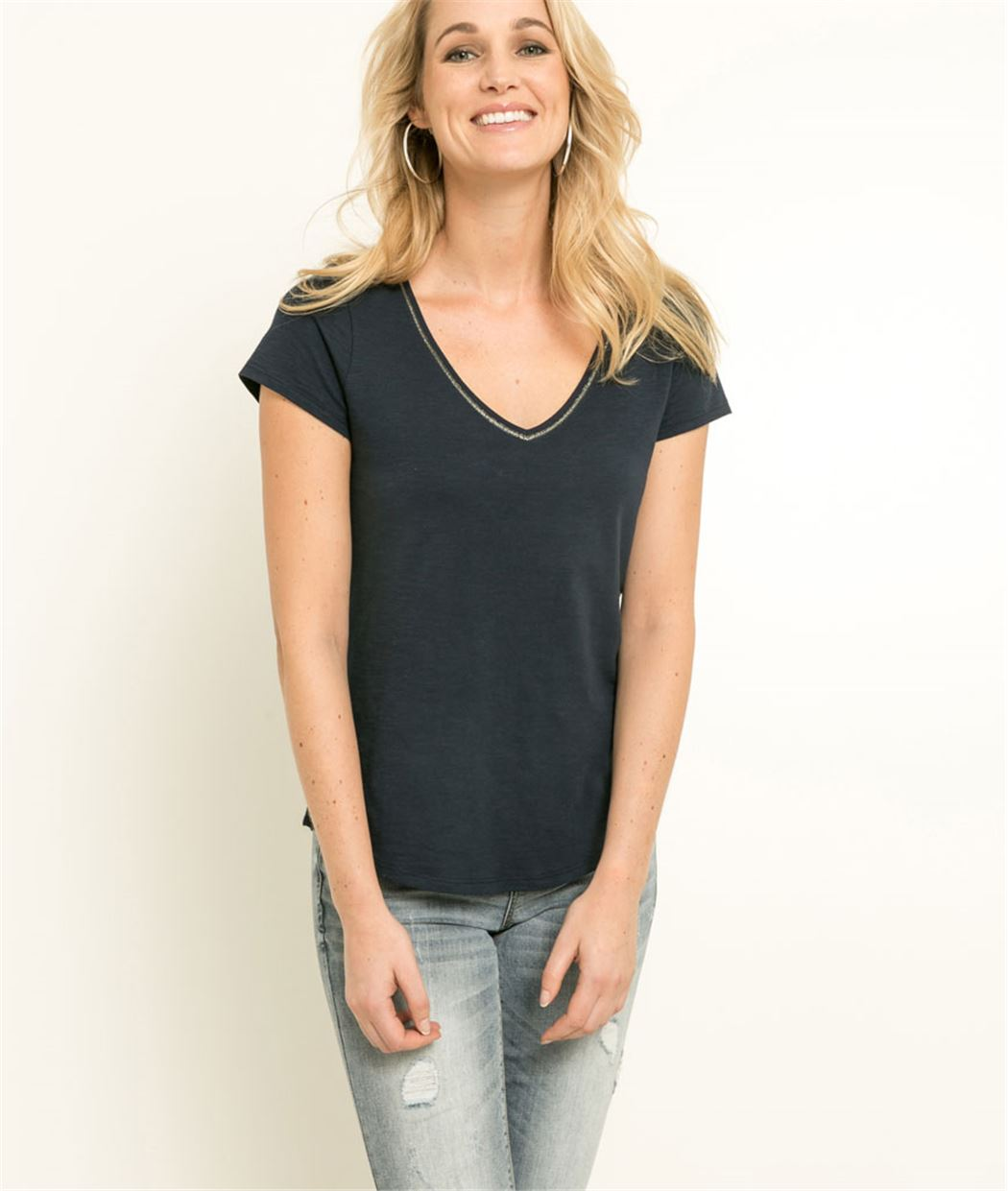 T-shirt femme uni manches courtes MARINE