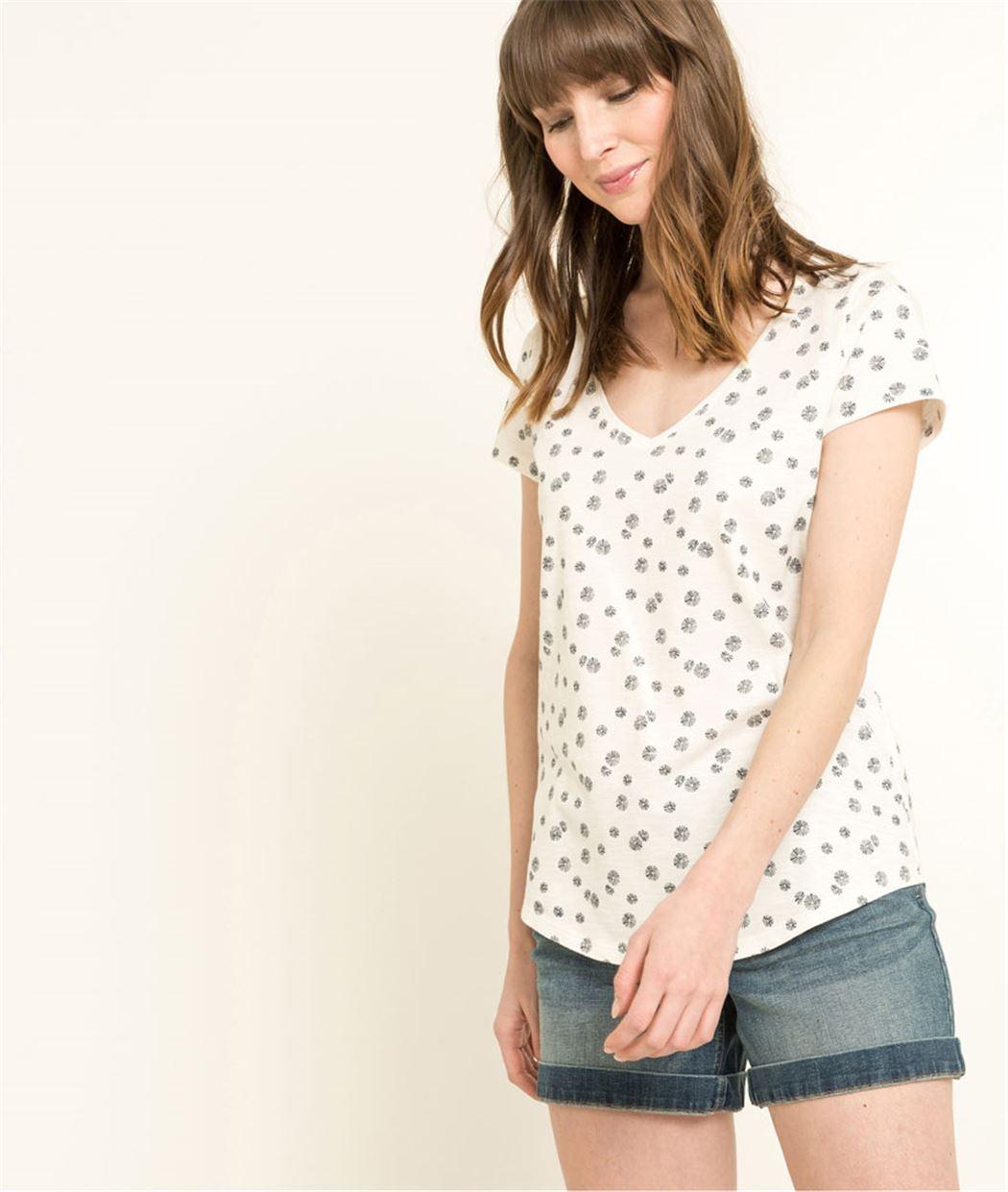 T-shirt femme manches courtes imprimé ECRU
