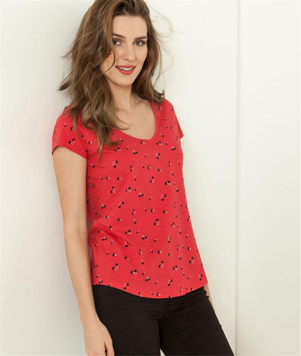 T-shirt femme manches courtes imprimé ROUGE