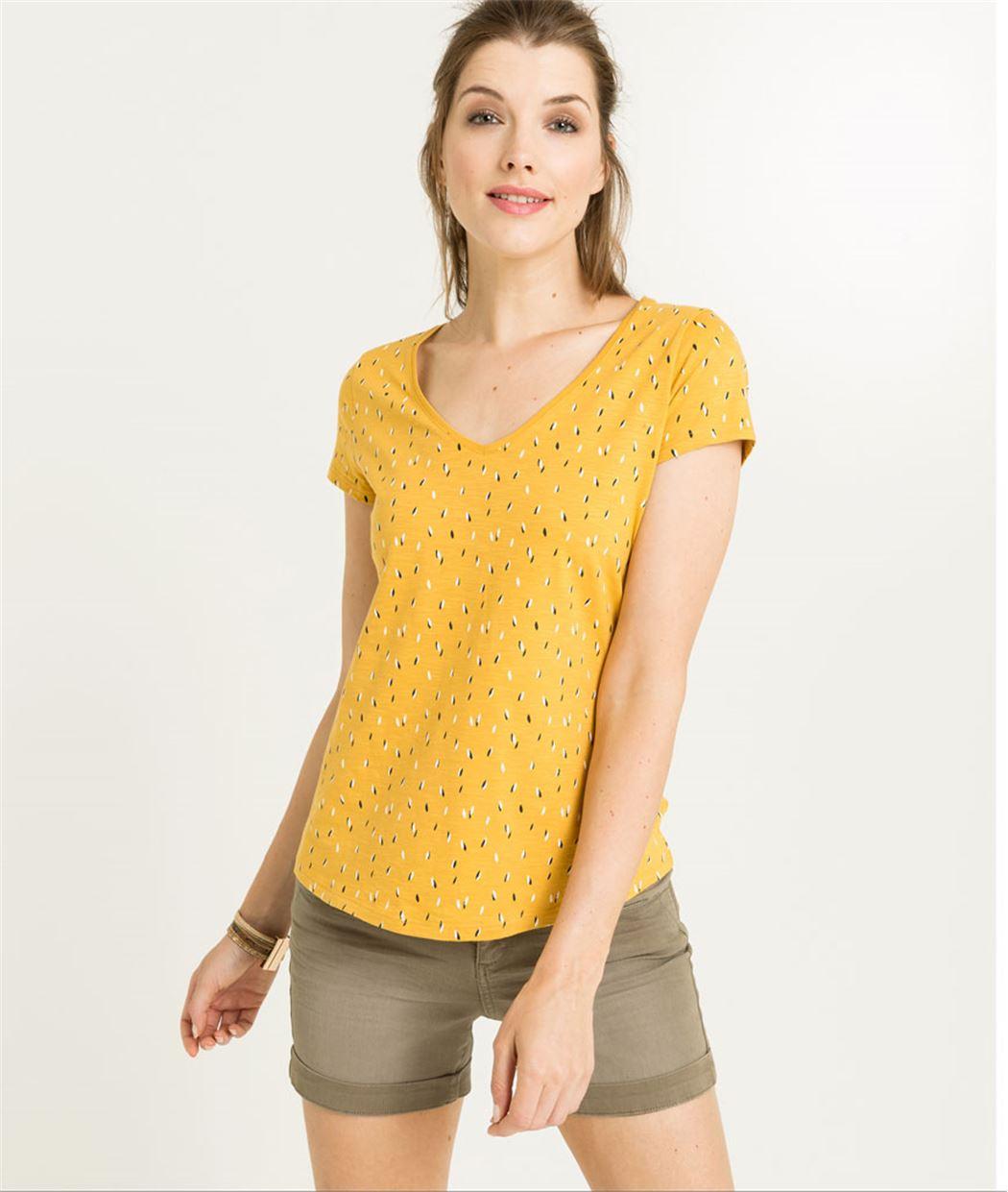 T-shirt femme manches courtes imprimé SAFRAN