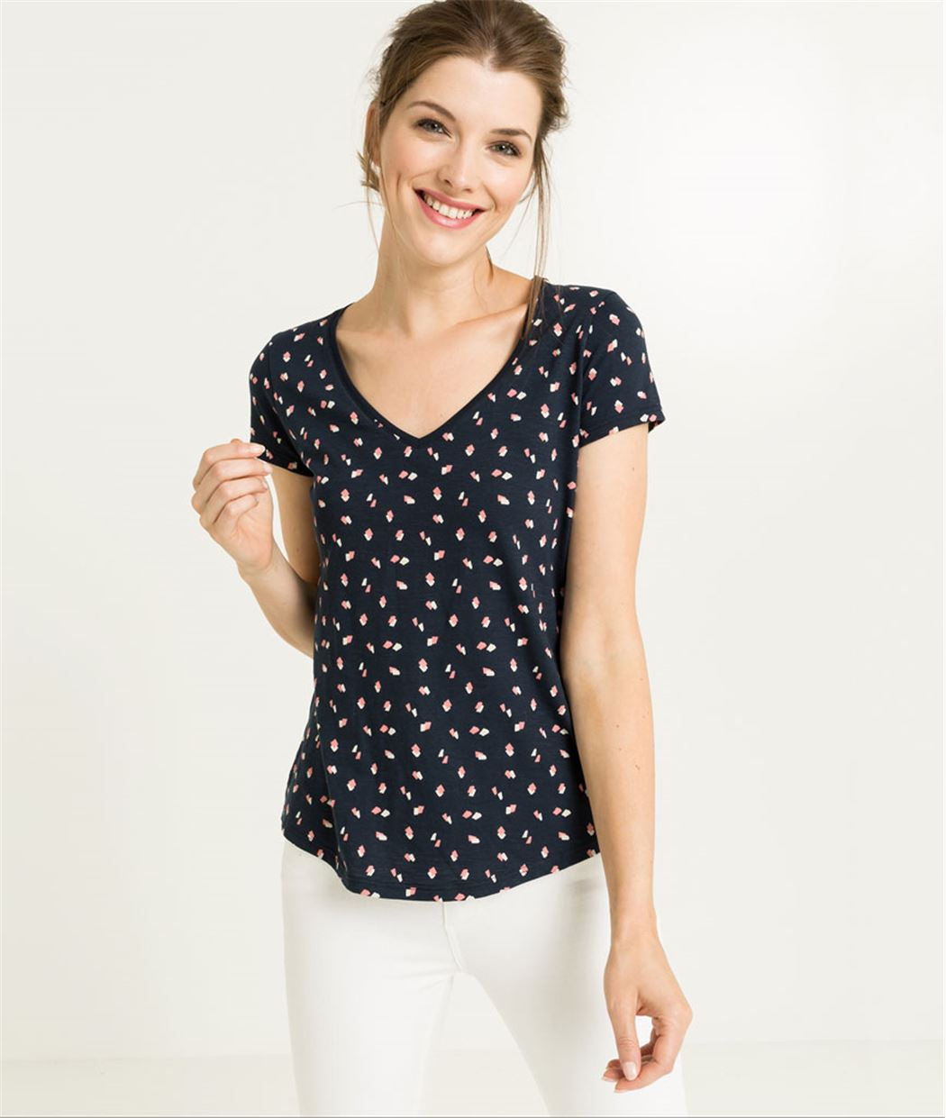 T-shirt femme manches courtes imprimé MARINE