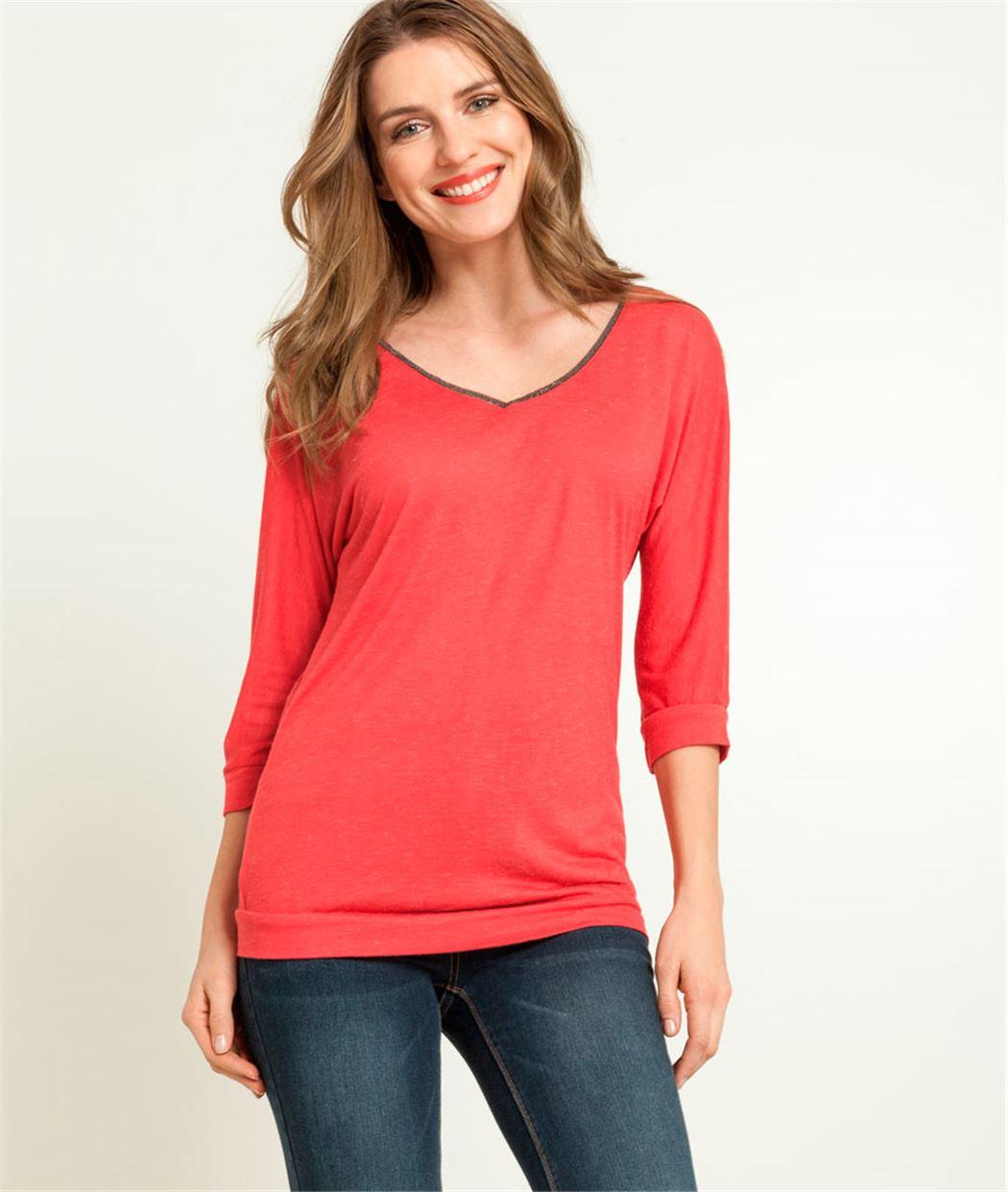 T-shirt femme col V ROSE