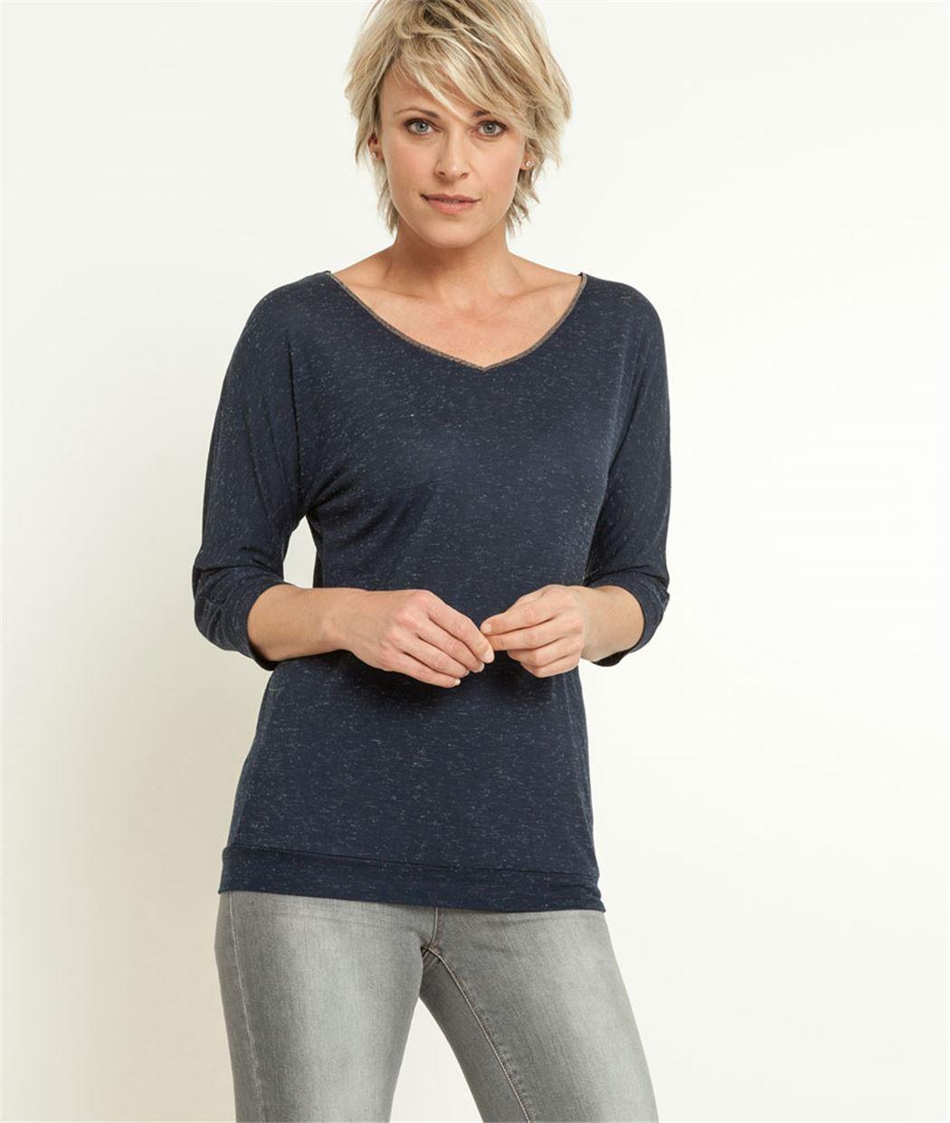T-shirt femme col V MARINE