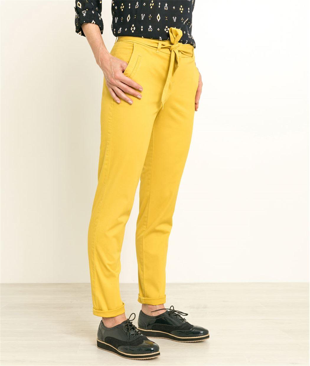 Pantalon femme chino ceinturé CITRINE