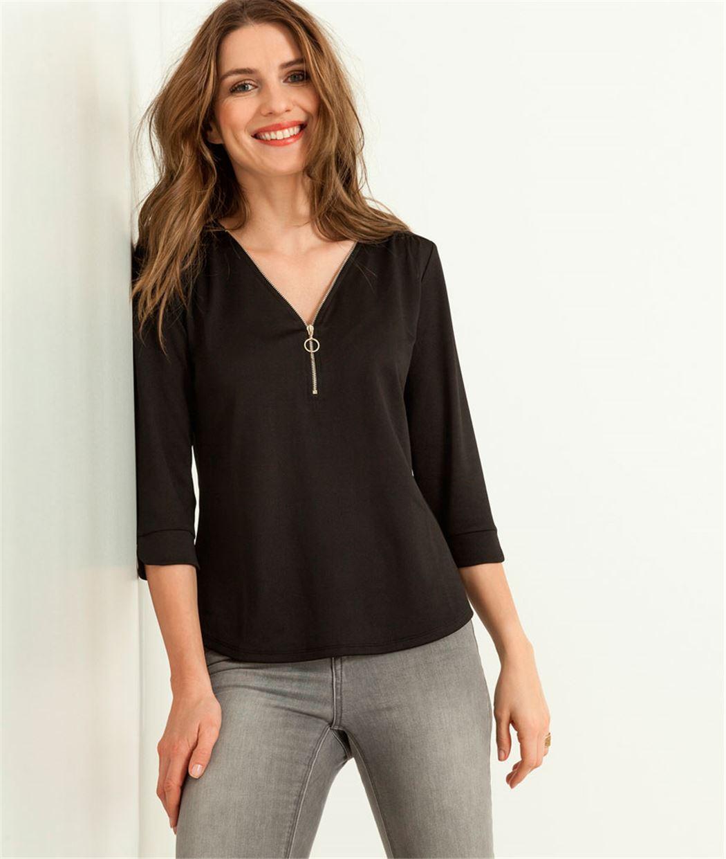 Tshirt femme détail zip NOIR