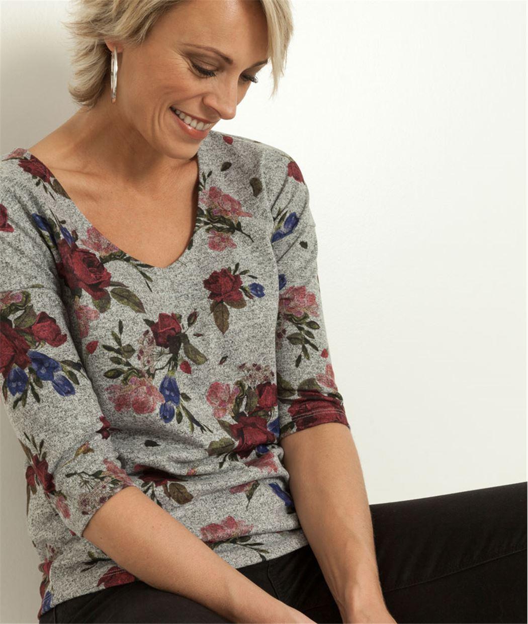 T-shirt femme imprimé roses GRIS