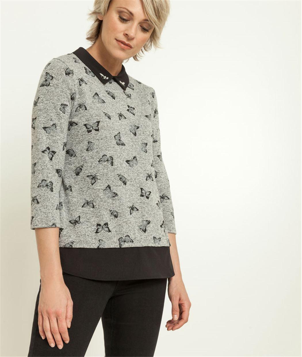 T-shirt femme 2 en 1 imrpimé papillons GRIS