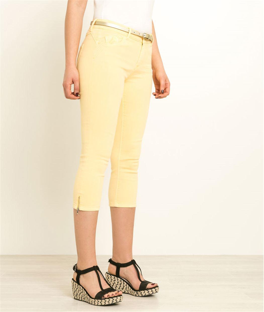 Corsaire femme en jean couleurs JAUNE