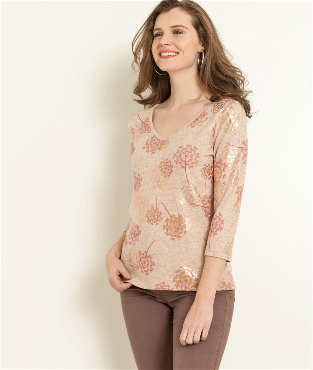 T-shirt femme imprimé motif floral ROSE