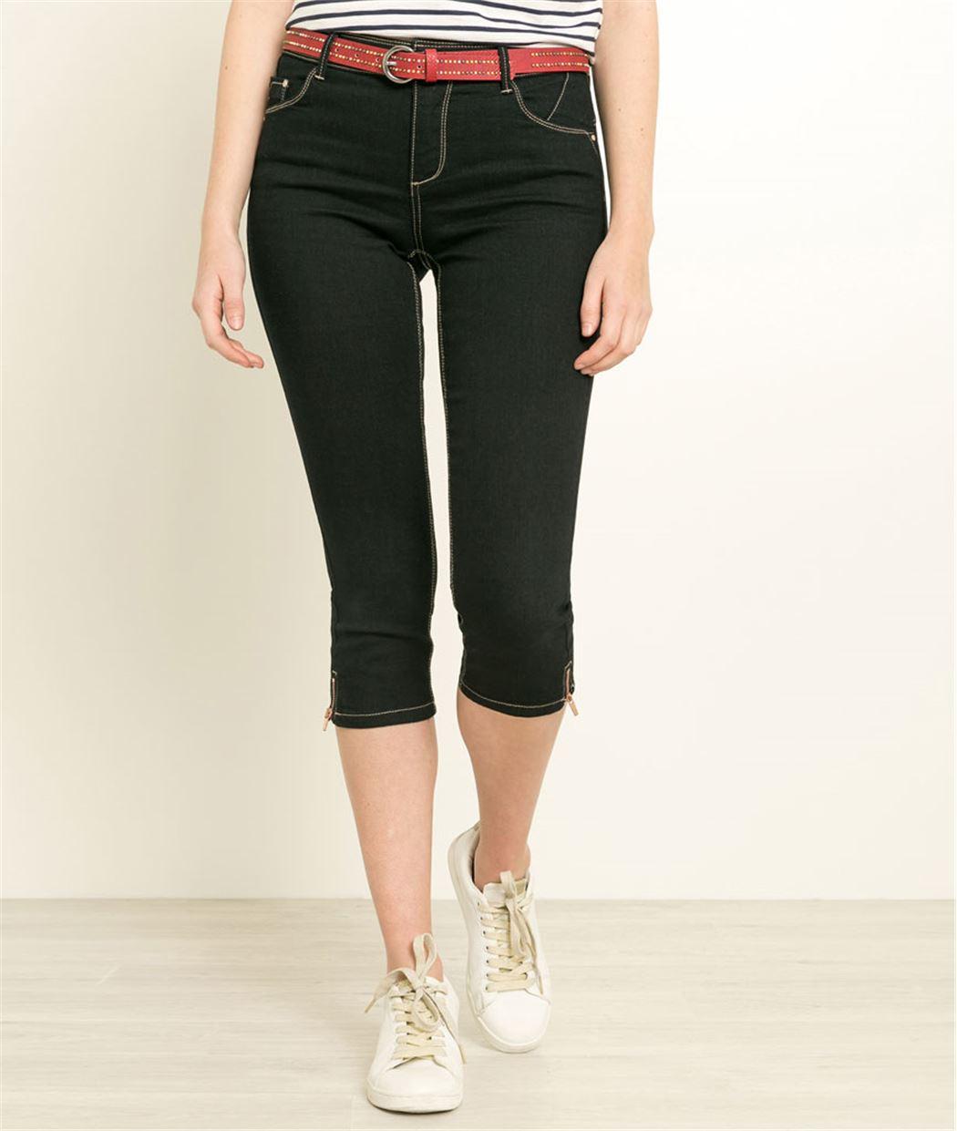 Corsaire femme en jean BLUE BLACK