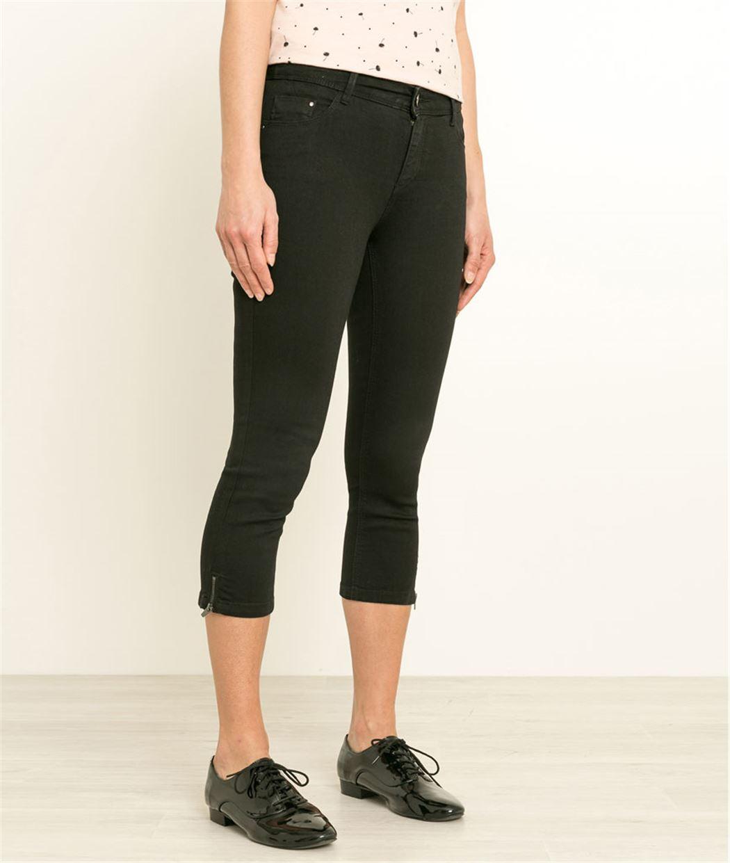 Corsaire femme en jean avec zip BLACK