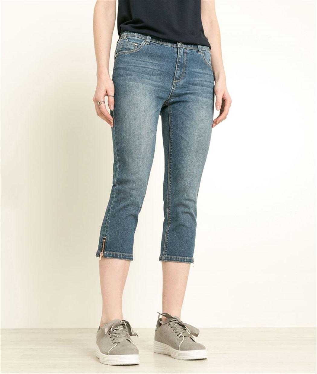 Corsaire femme en jean avec zip STONE