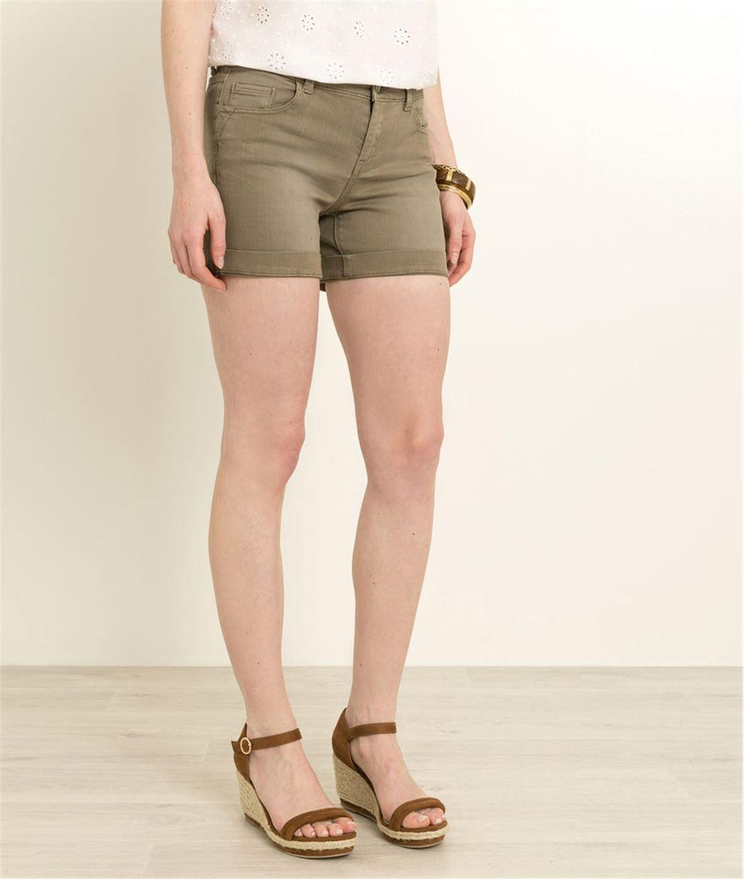 Short jean femme KAKI