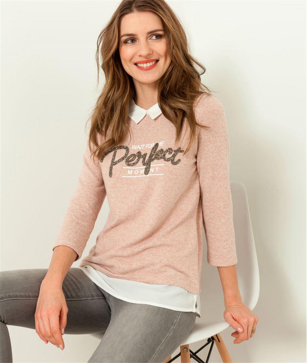 T-shirt femme 2 en 1 et message perles ROSE