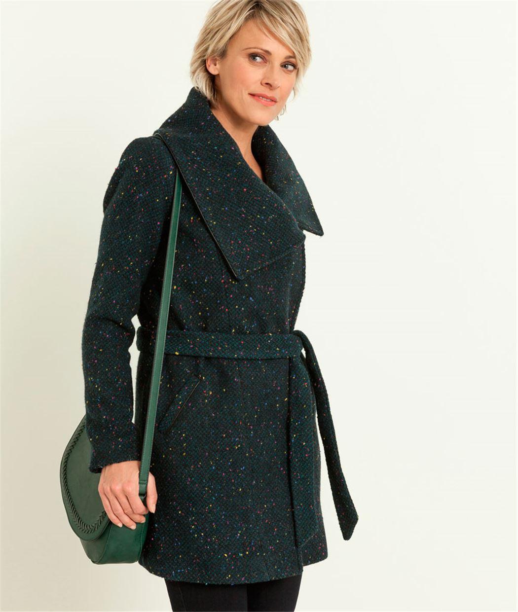 Manteau femme lainage fantaisie VERT