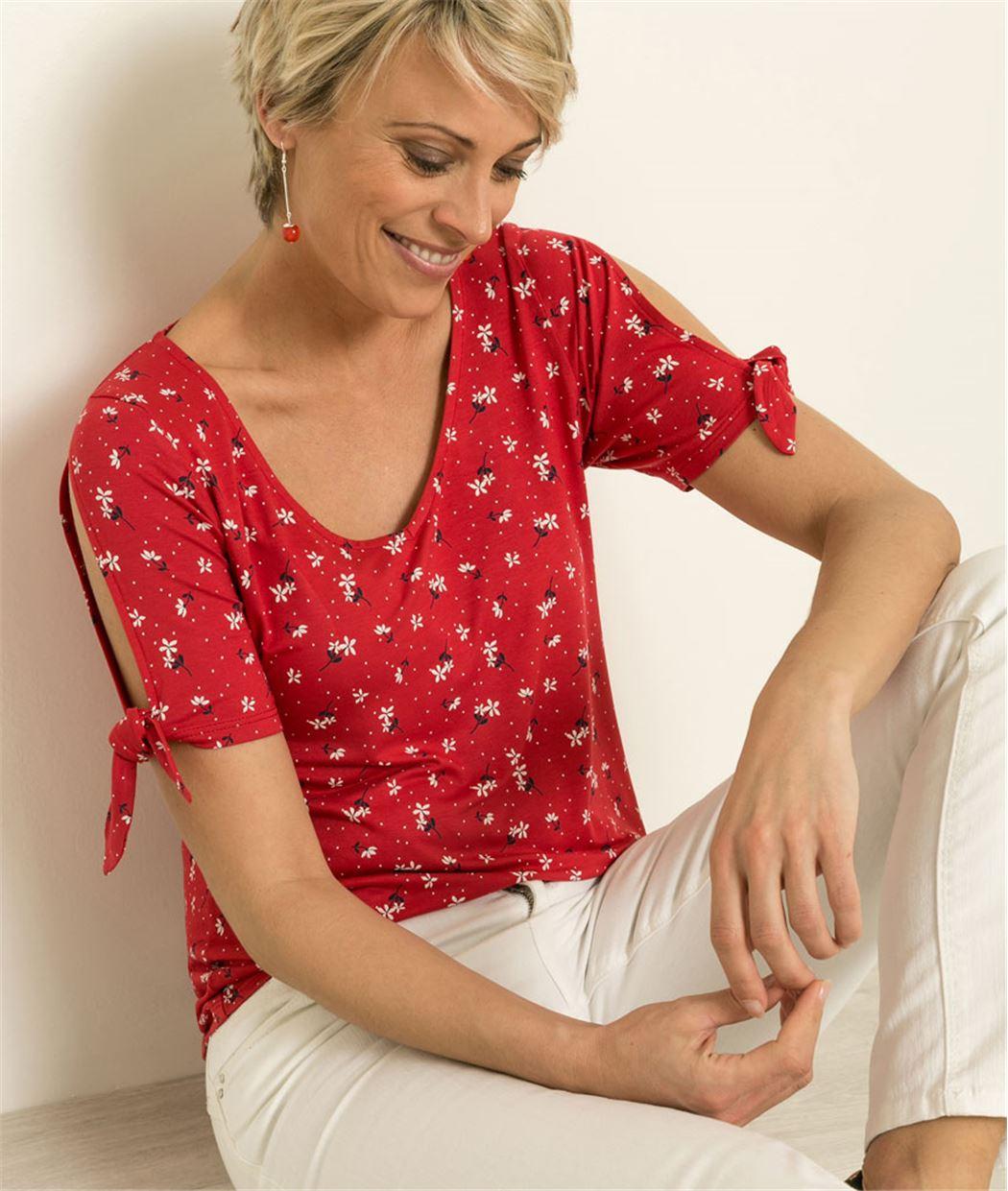 T-shirt femme imprimé manches ouvertes ROUGE