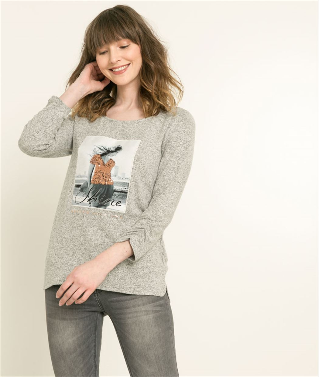 Tshirt femme sequins GRIS MOYEN