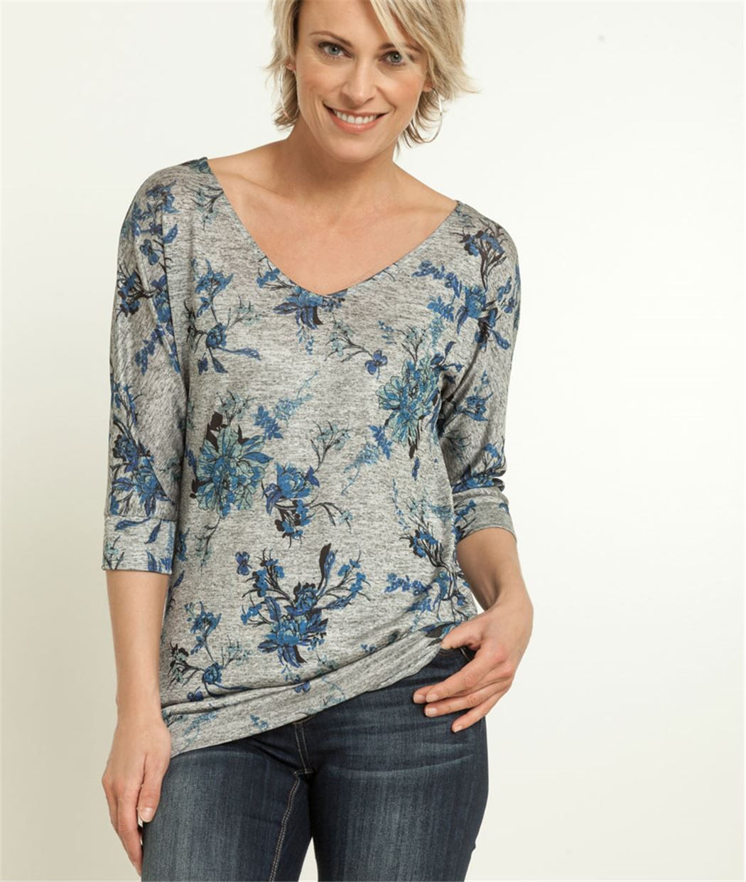 Tshirt femme imprimés fleurs GRIS MOYEN