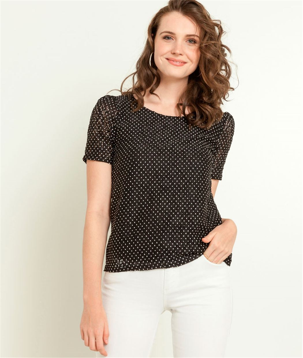 T-shirt femme dentelle imprimé pois NOIR