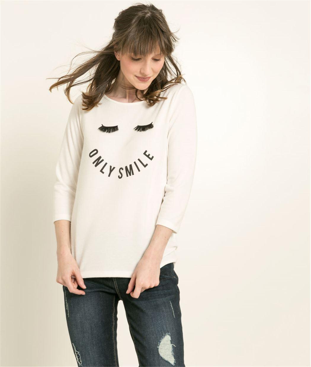 T-Shirt femme cils imprimés ECRU
