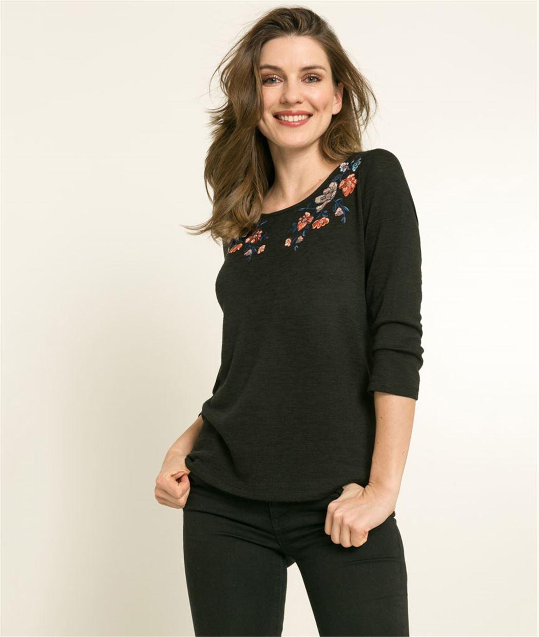 T-shirt femme broderie fleurs NOIR