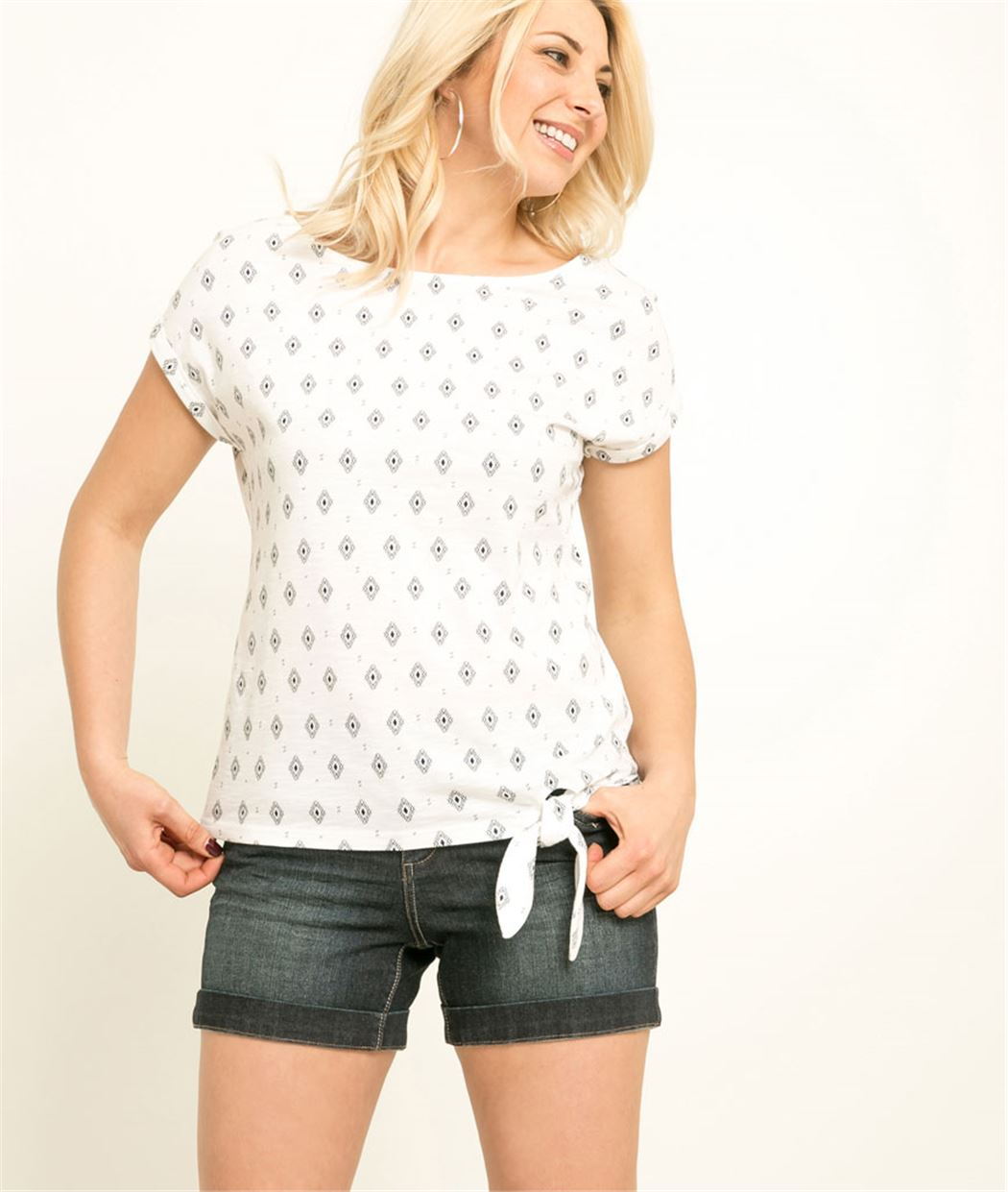 T-shirt femme imprimé avec noeud BLANC