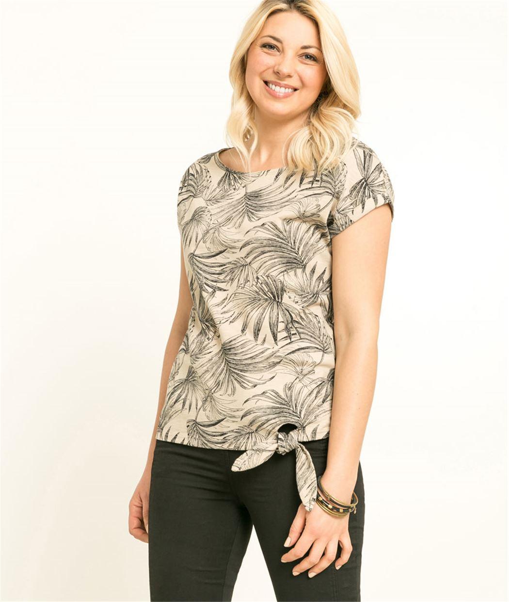 T-shirt femme imprimé avec noeud SABLE