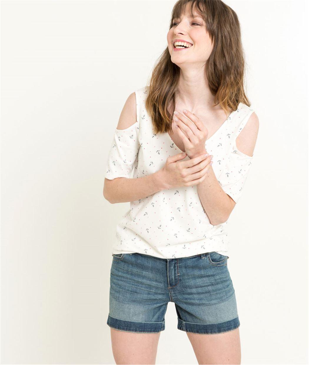 T-shirt femme épaules ouvertes BLANC