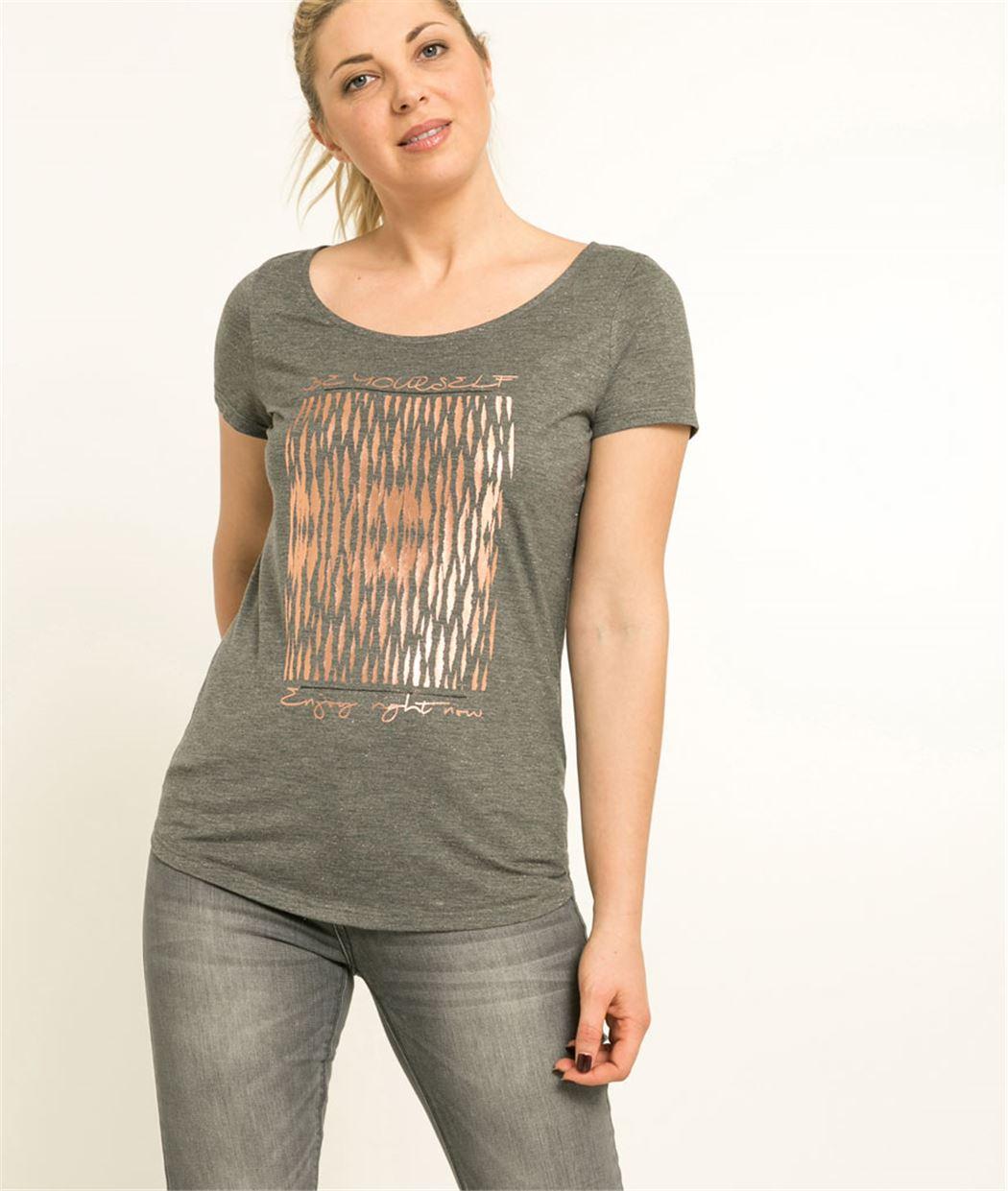 T-shirt femme manches courtes imprimé ANTHRACITE