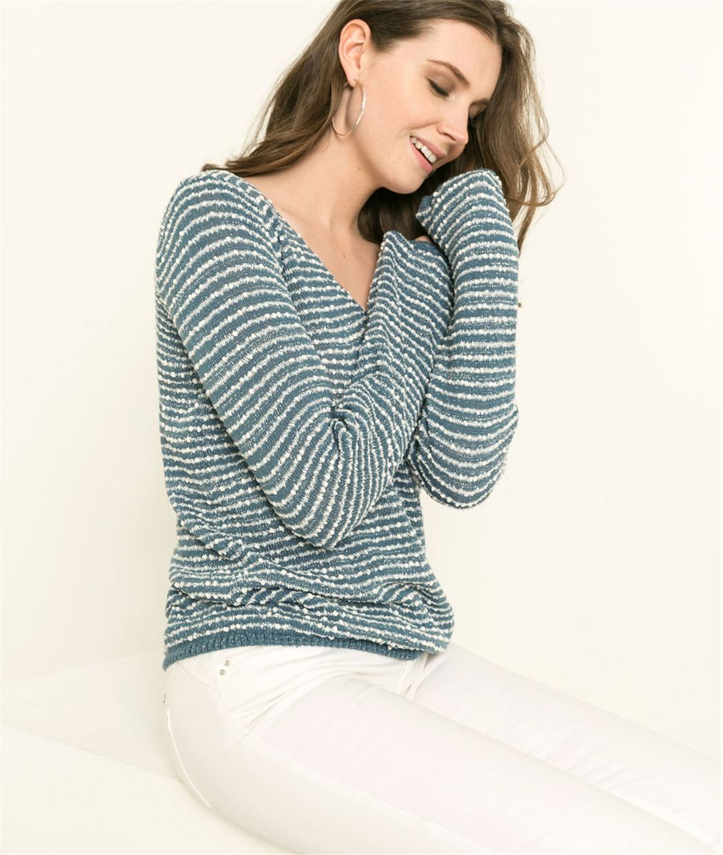 Pull femme maille fantaisie rayé NACRE