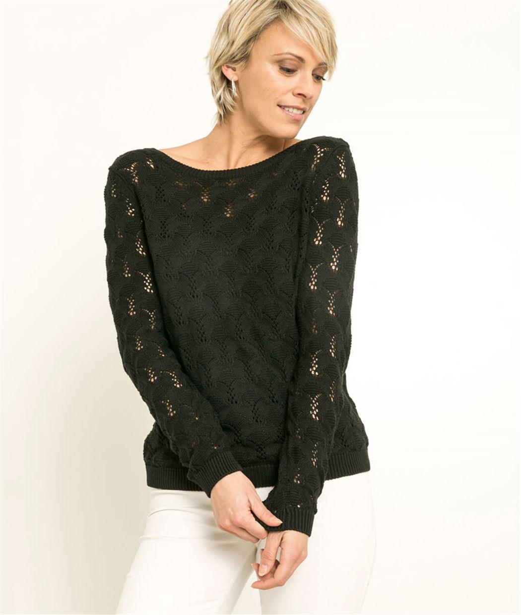 Pull femme tricotage fantaisie NOIR