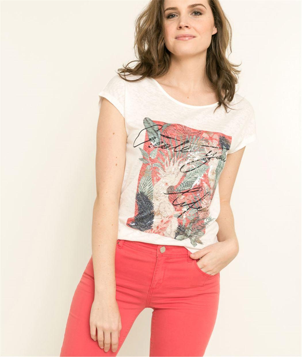 T-shirt femme imprimé et message ECRU